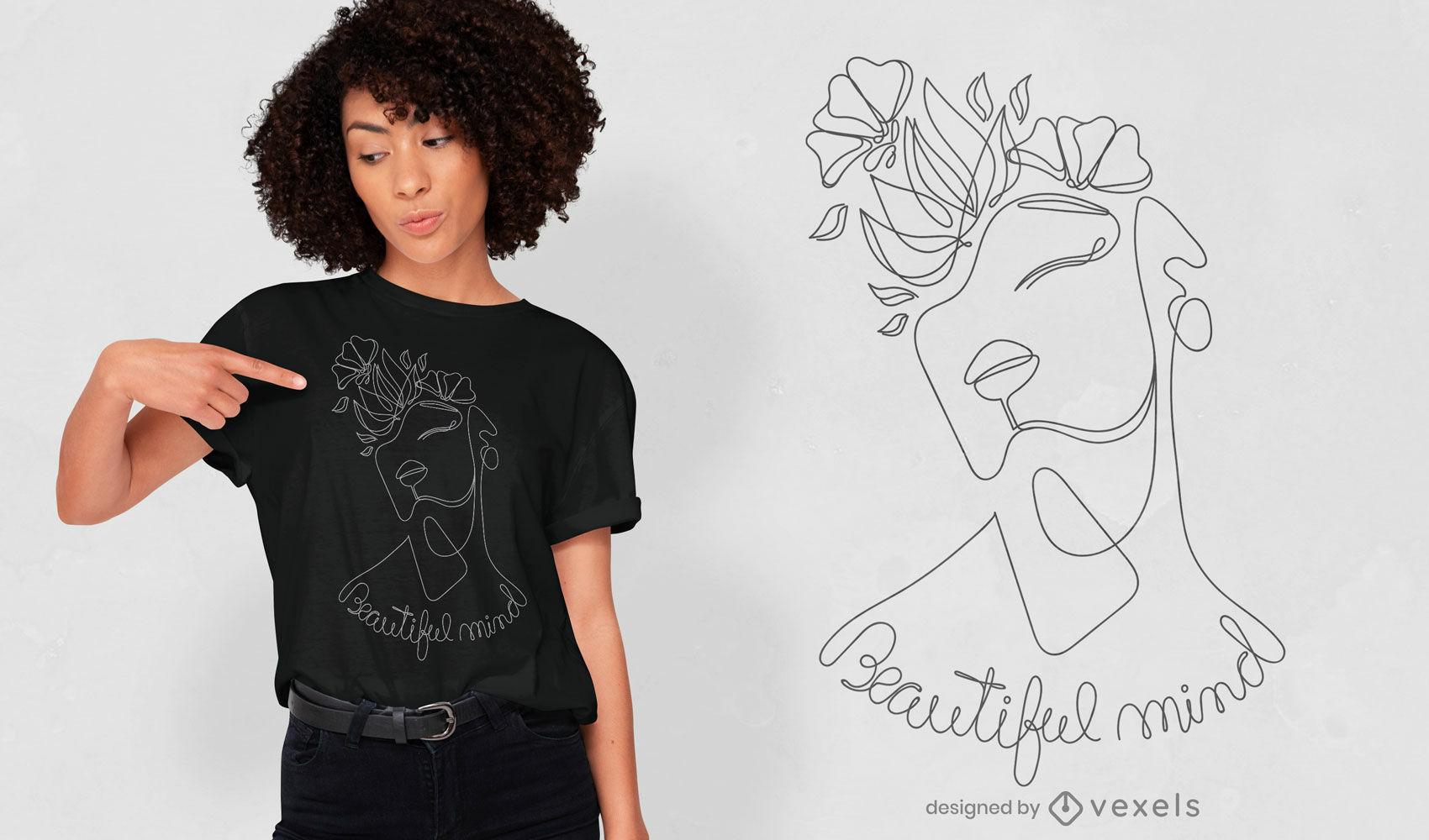 Diseño de camiseta de línea continua de chica hermosa mente