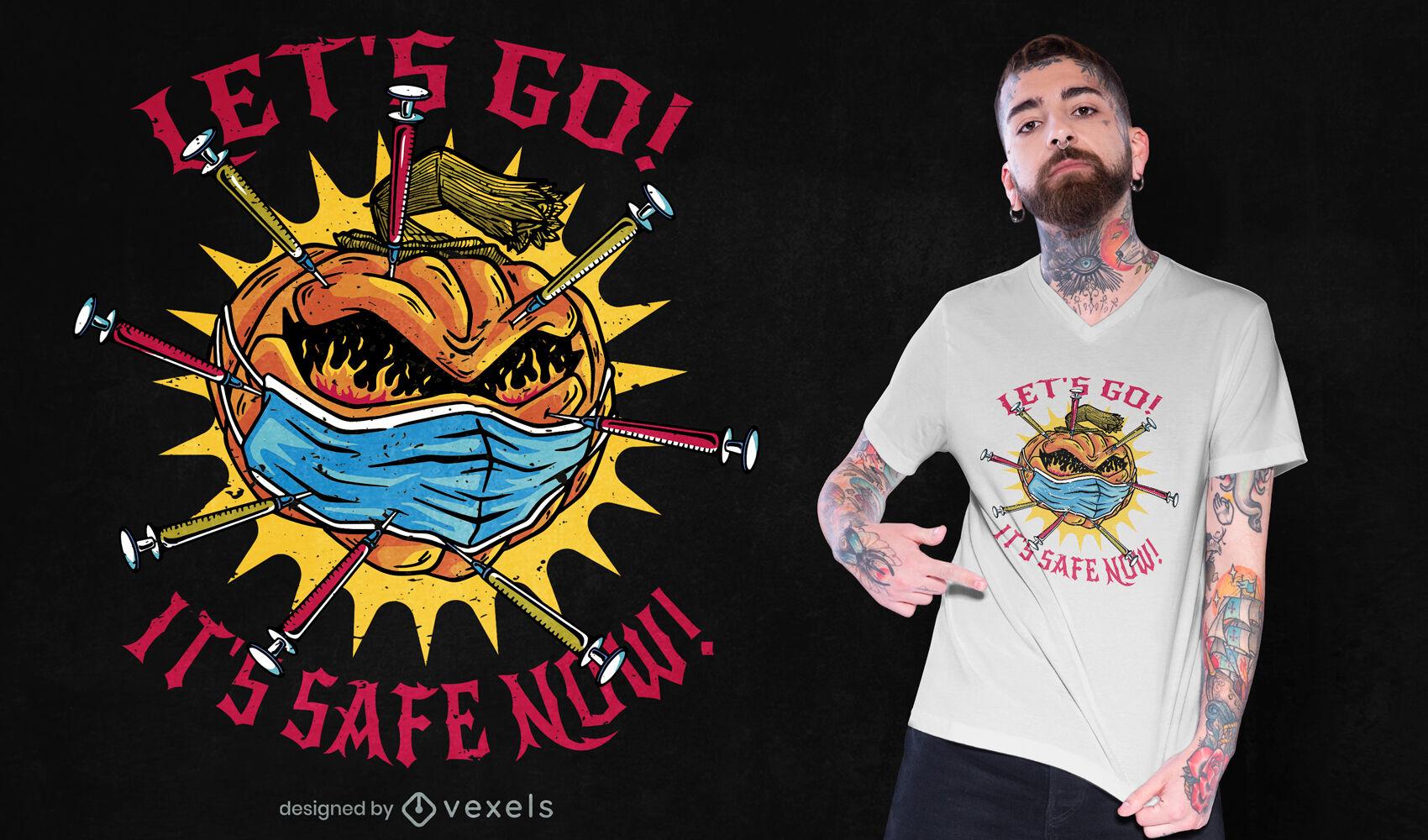 Dise?o de camiseta de ilustraci?n de calabaza vacunada.