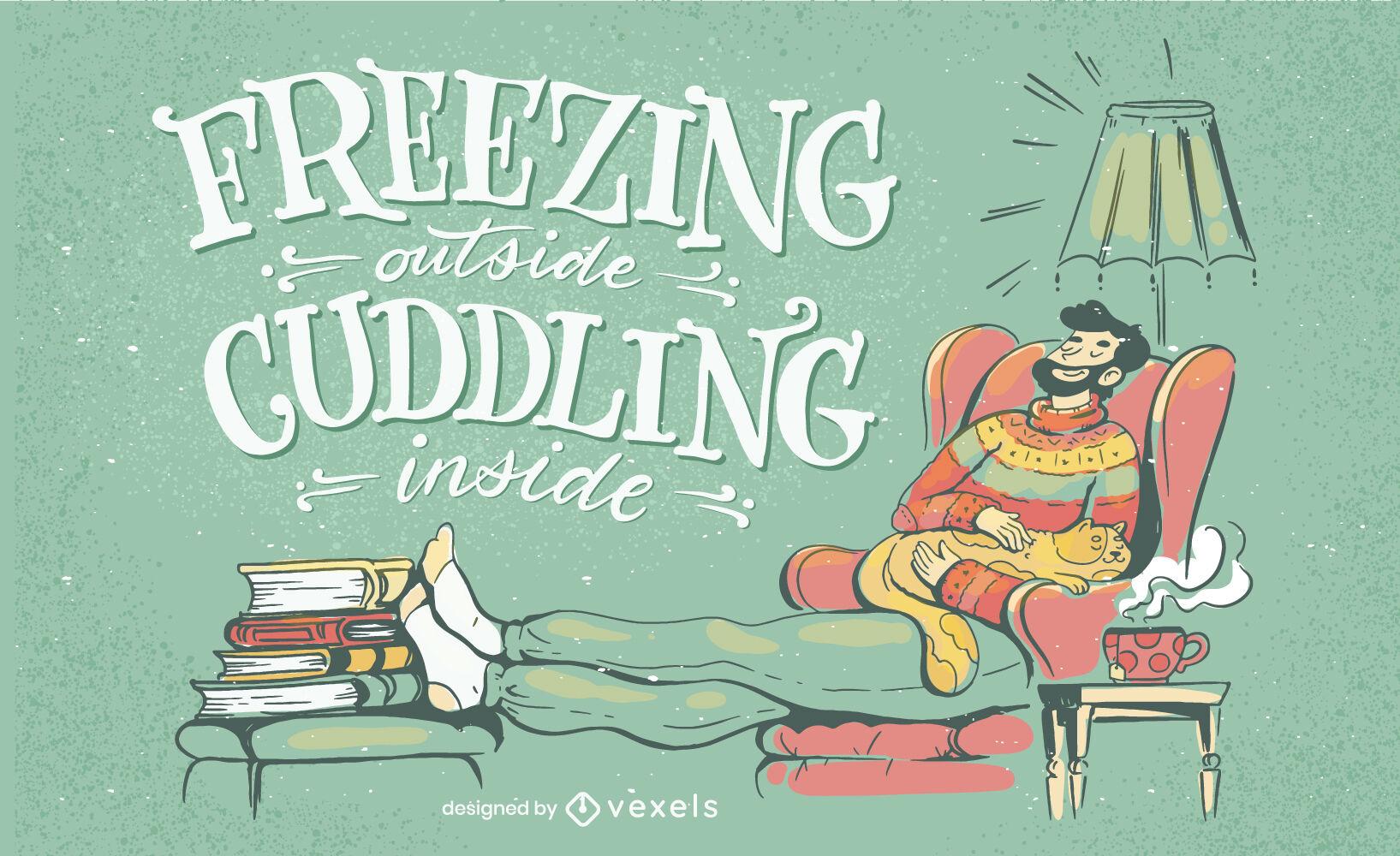 Winter season cozy home lettering design
