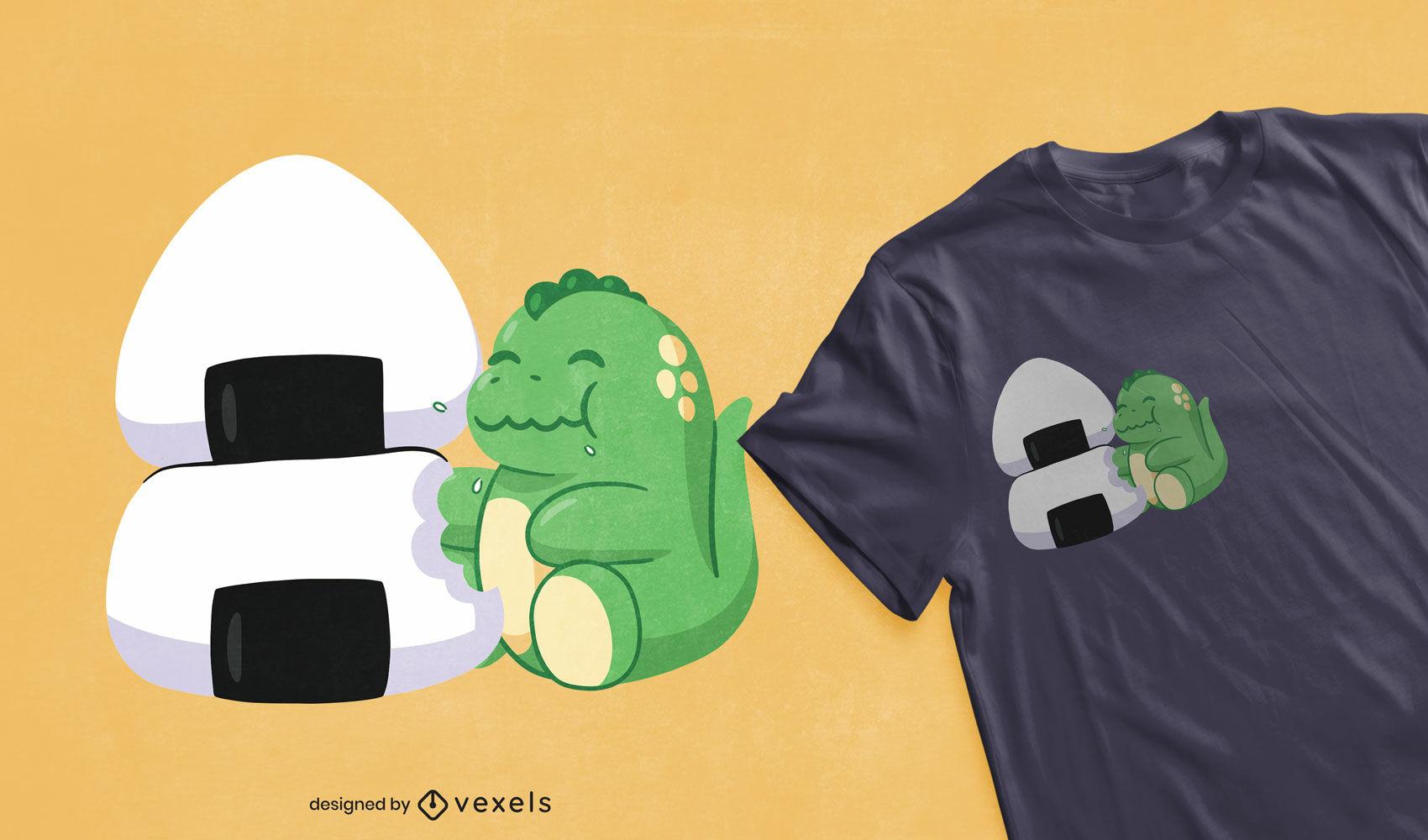Diseño de camiseta lindo dino comiendo bolas de arroz