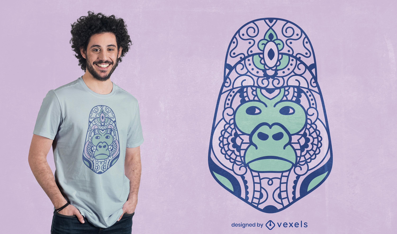 Design de t-shirt mandala gorila