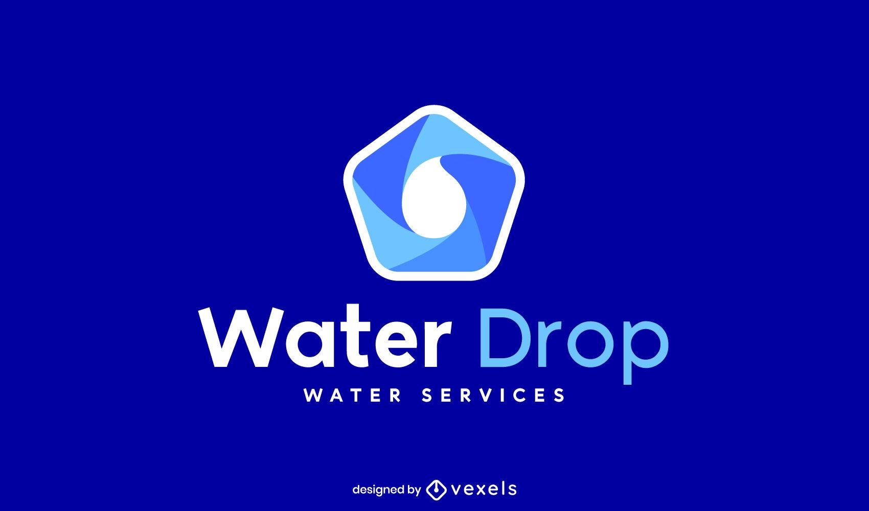 Plantilla de logotipo de forma abstracta de gota de agua