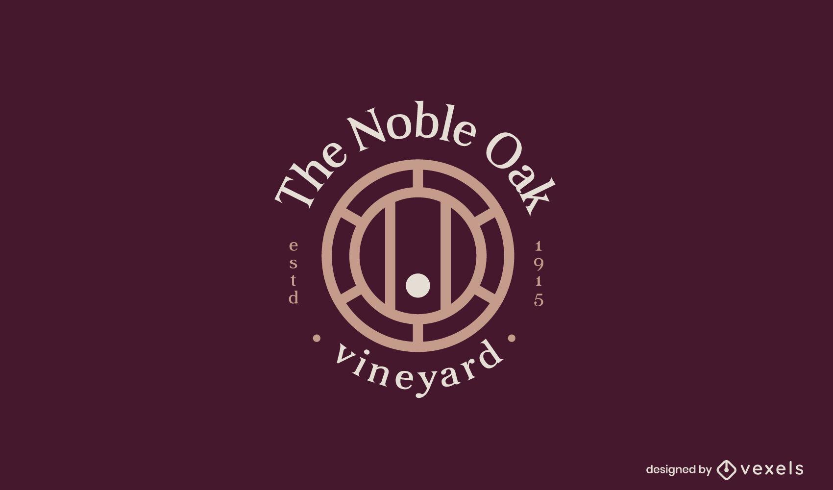 Modelo de logotipo comercial de bebida em barril de vinho