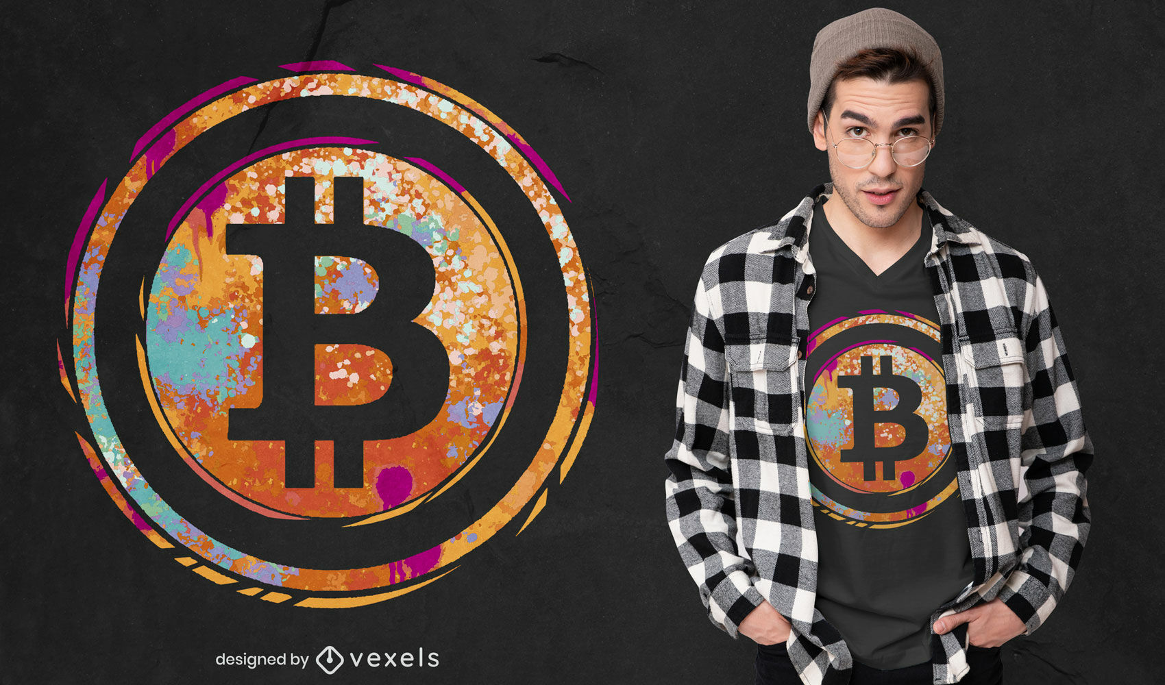 Dise?o de camiseta de acuarela con s?mbolo de Bitcoin