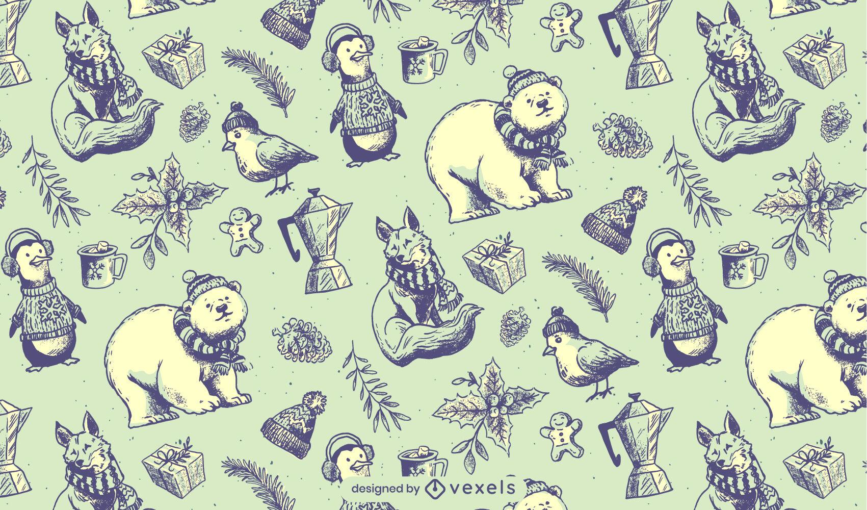 Musterdesign der wilden Tiere der Wintersaison