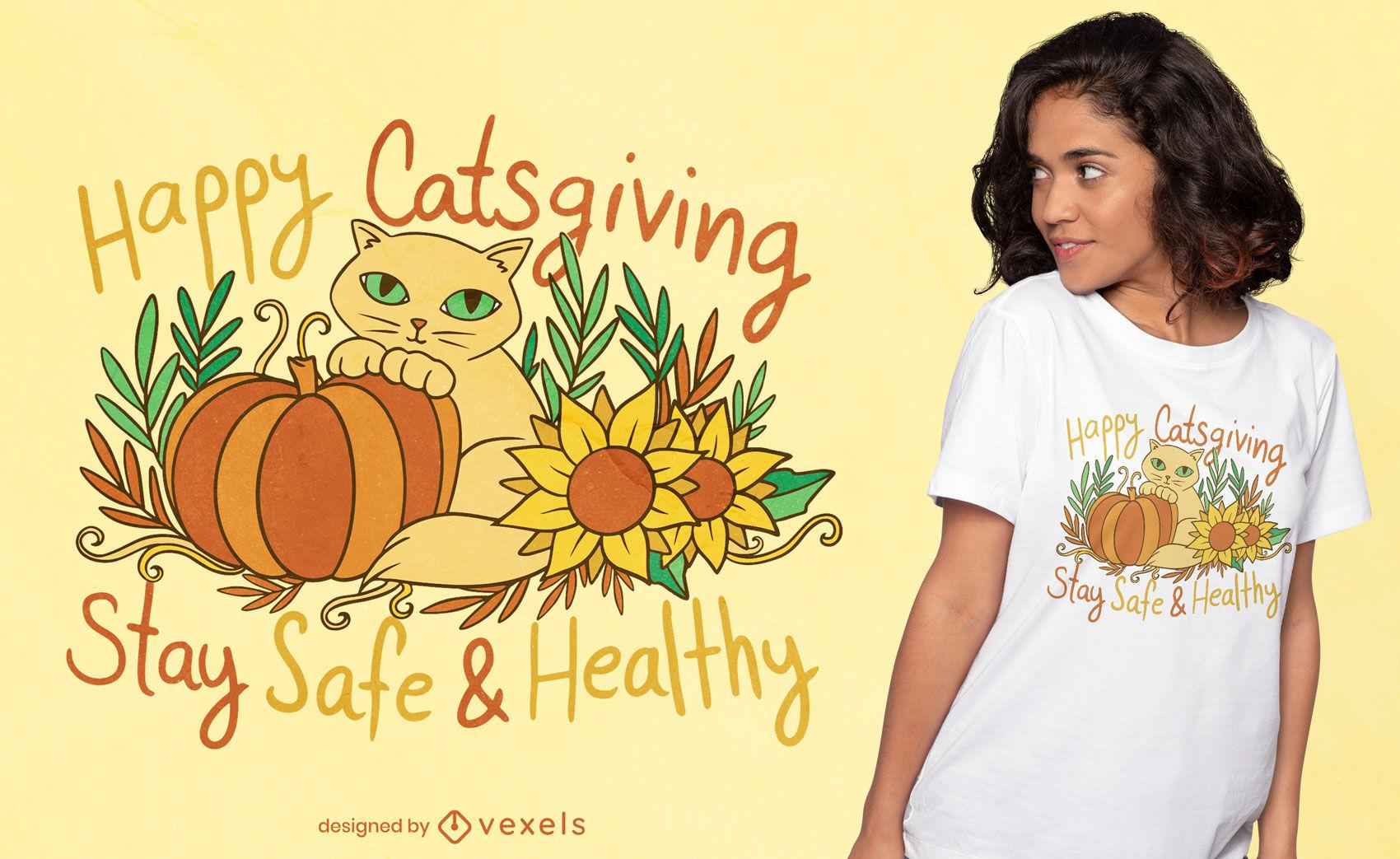 Diseño de camiseta de acción de gatos feliz