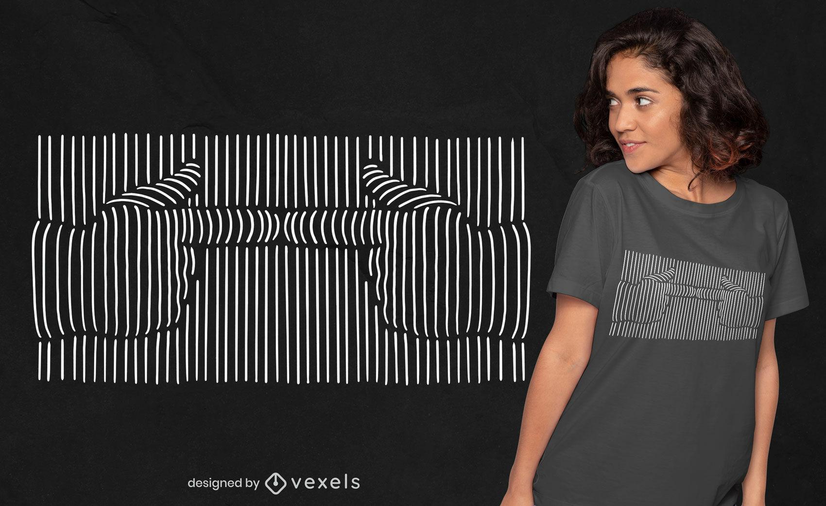 Diseño de camiseta de arte de línea de emoji de dedos tímidos