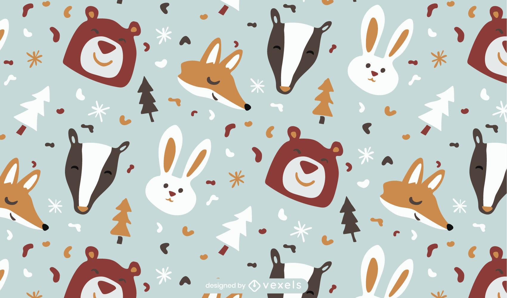 Tiere im flachen Musterdesign des Winters