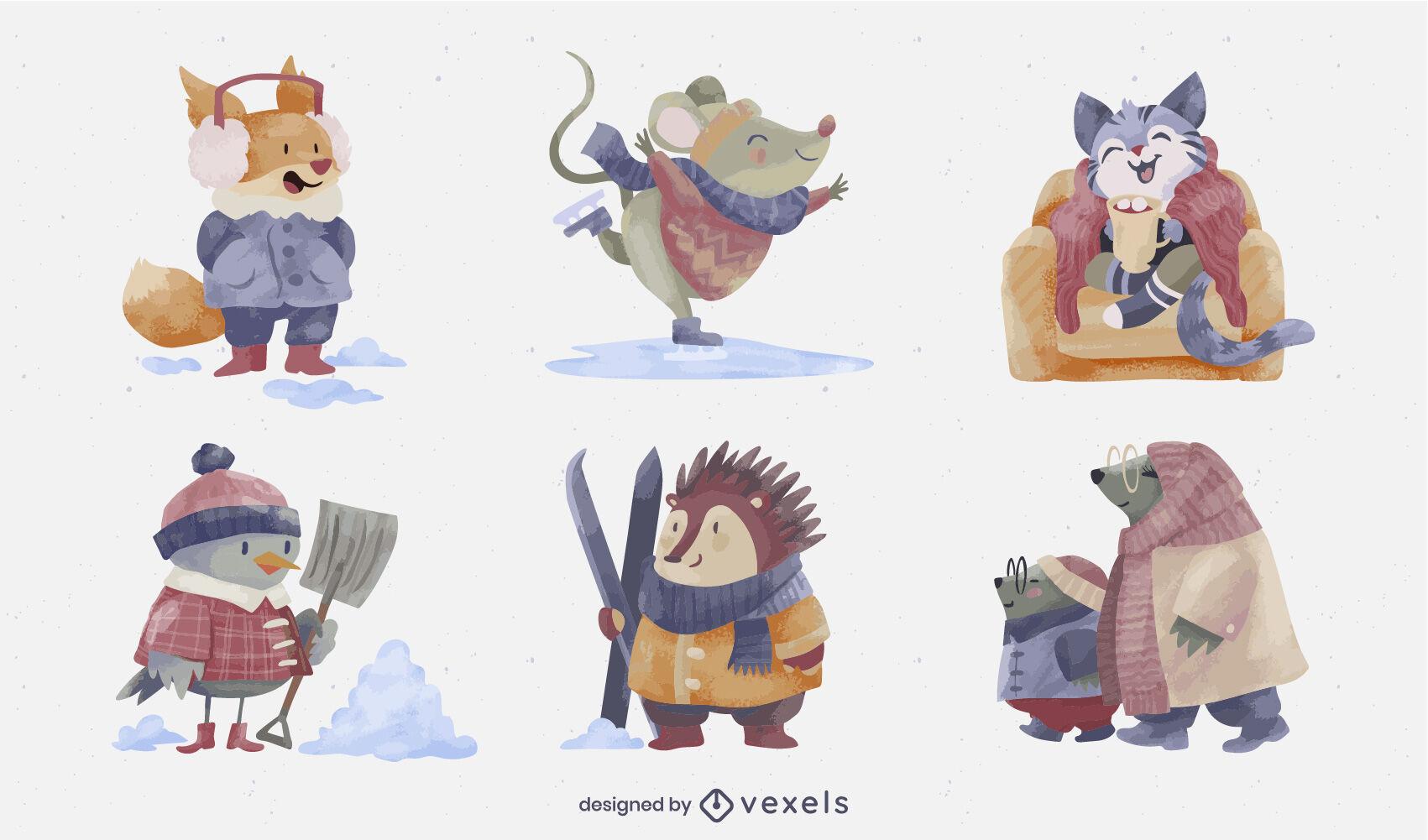 Conjunto de acuarela de invierno de personajes de animales lindos