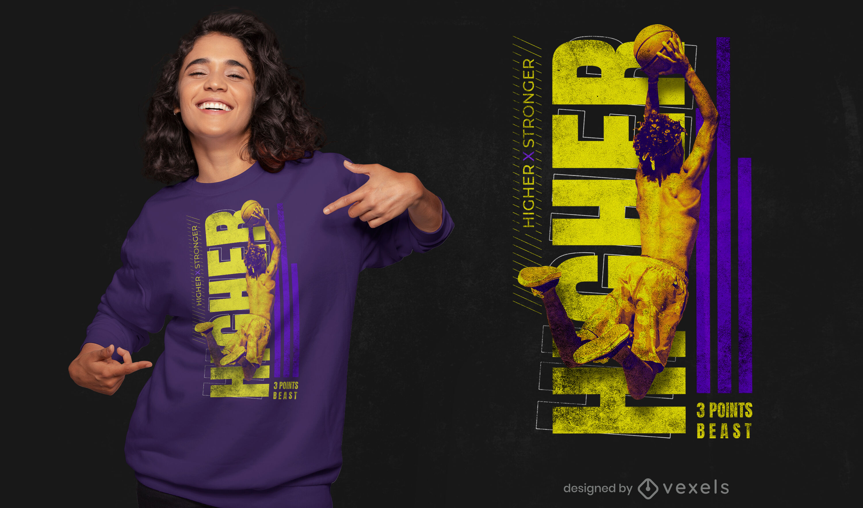 Design de camiseta para jogador de basquete psd