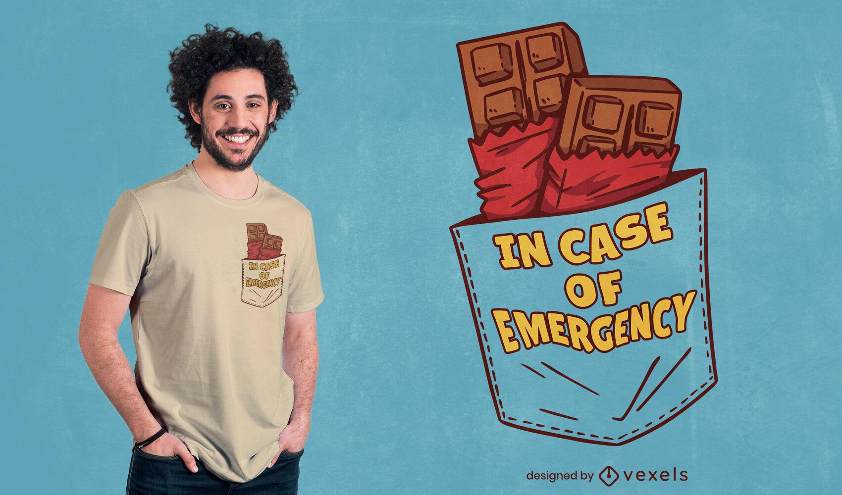 Diseño de camiseta de barra de chocolate de emergencia.