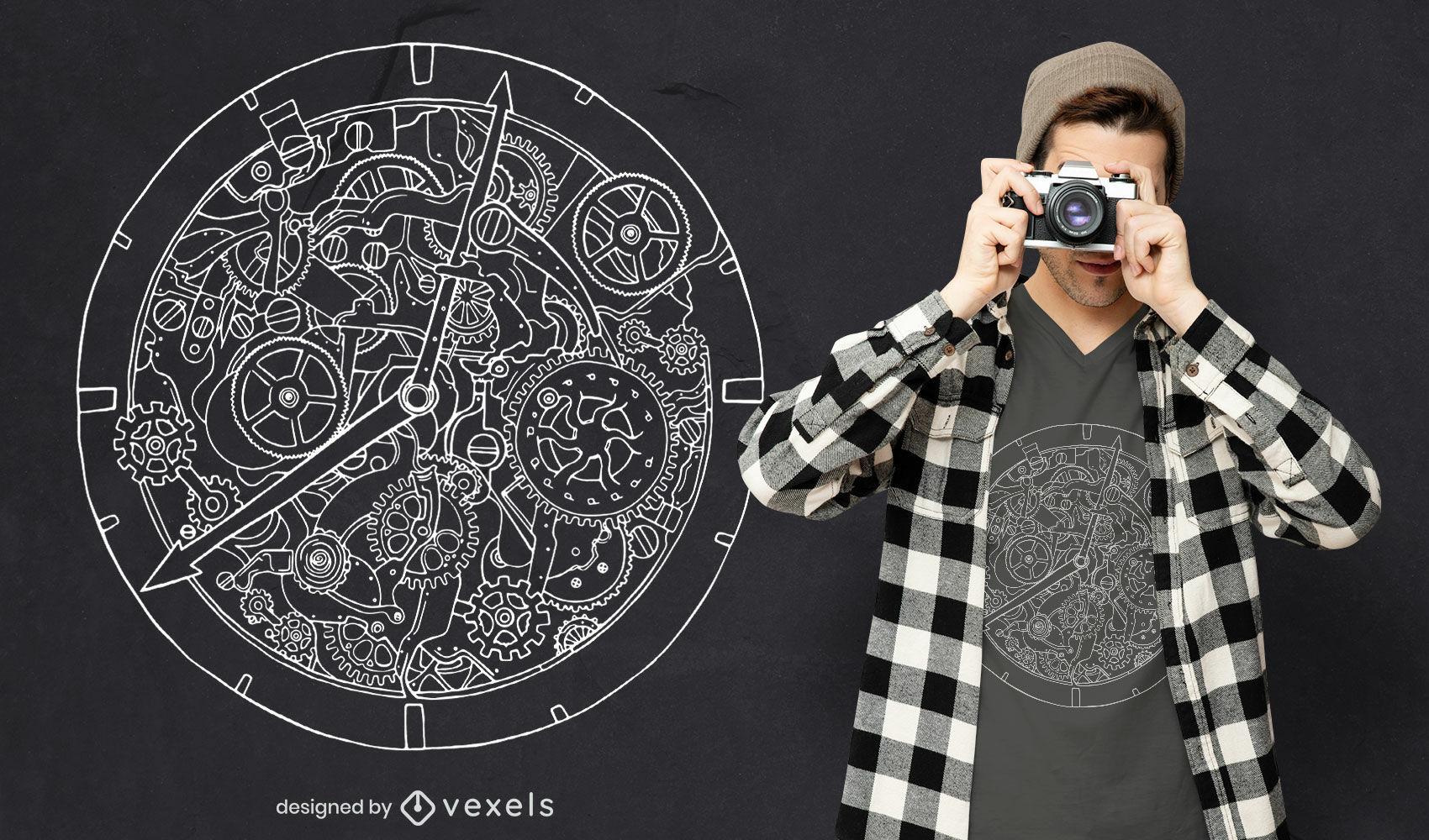 Dise?o de camiseta de arte de l?nea de reloj mec?nico.