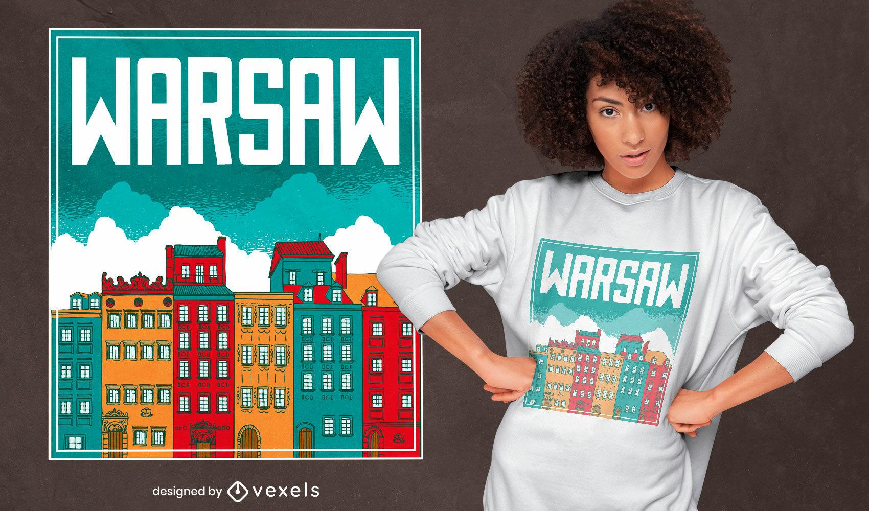 Diseño de camiseta de edificios de la ciudad de Varsovia.