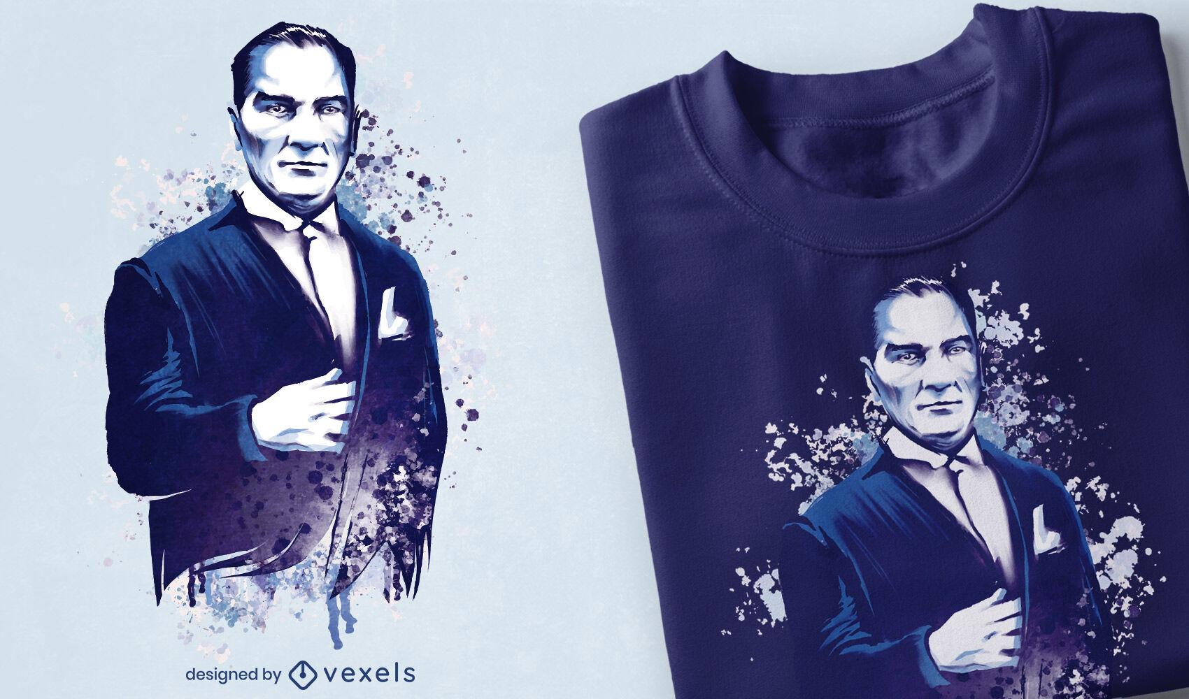 Design de t-shirt Ataturk portrait psd