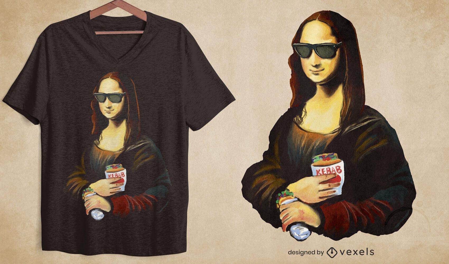 Diseño de camiseta de pintura de comida de mona lisa kebab