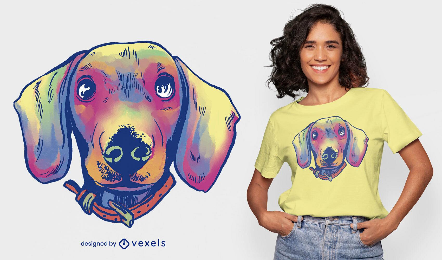 Desenho de camiseta em aquarela daschund com rosto de cachorro psd