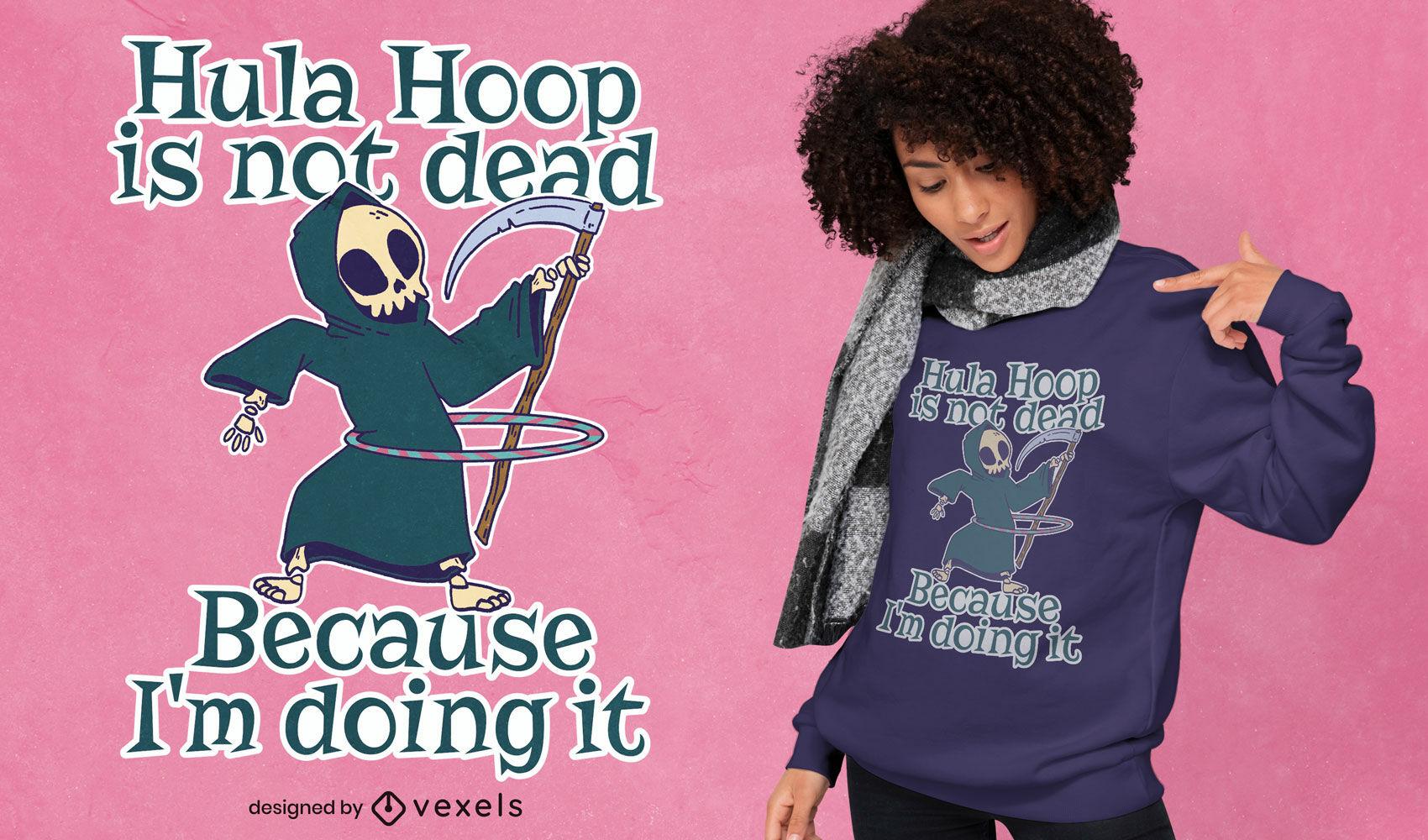Diseño de camiseta grim reaper hula hoop