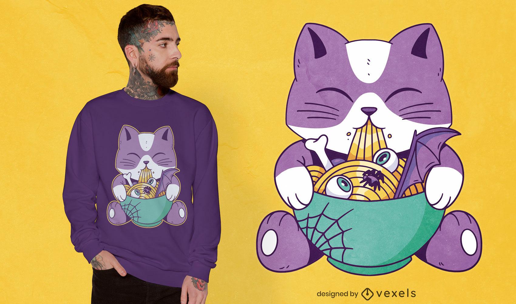Lindo gato comiendo diseño de camiseta de ramen de halloween