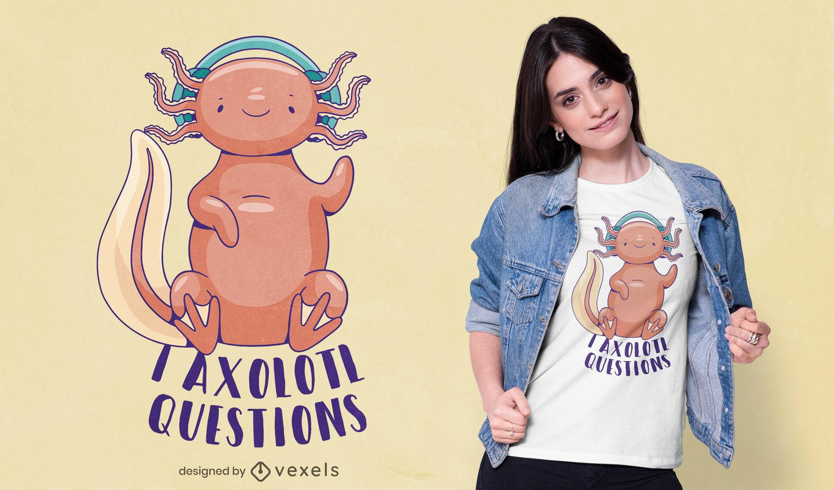 Animal axolotl com design de t-shirt de auscultadores