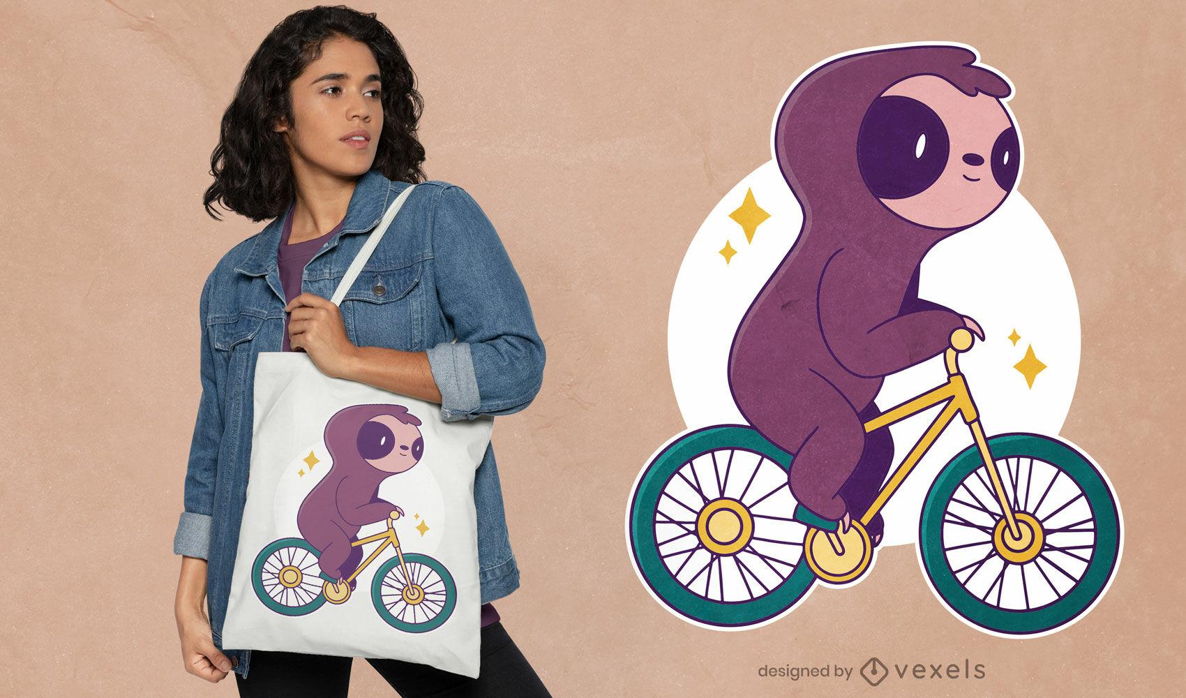 Design de t-shirt de bicho-preguiça andando de bicicleta