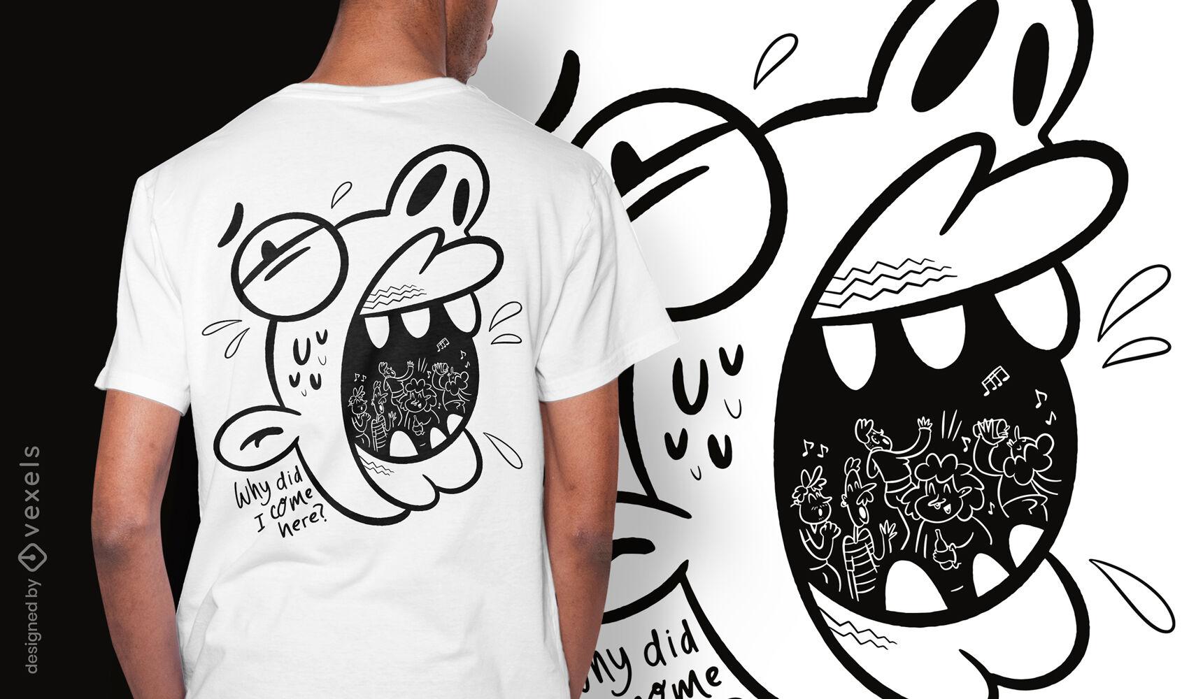 Dise?o de camiseta de doodle de fobia a la ansiedad social