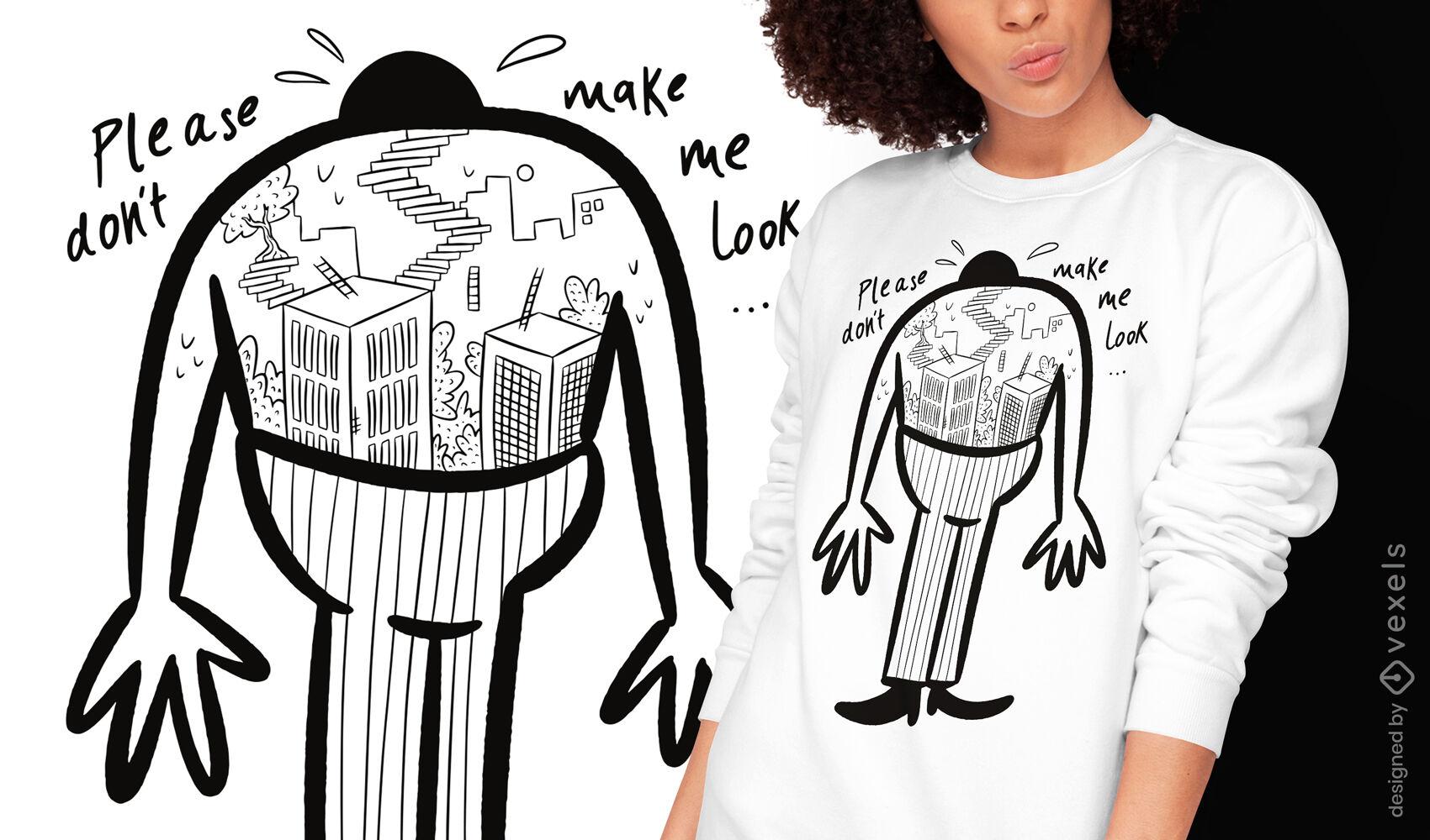 Medo de alturas doodle design de camiseta