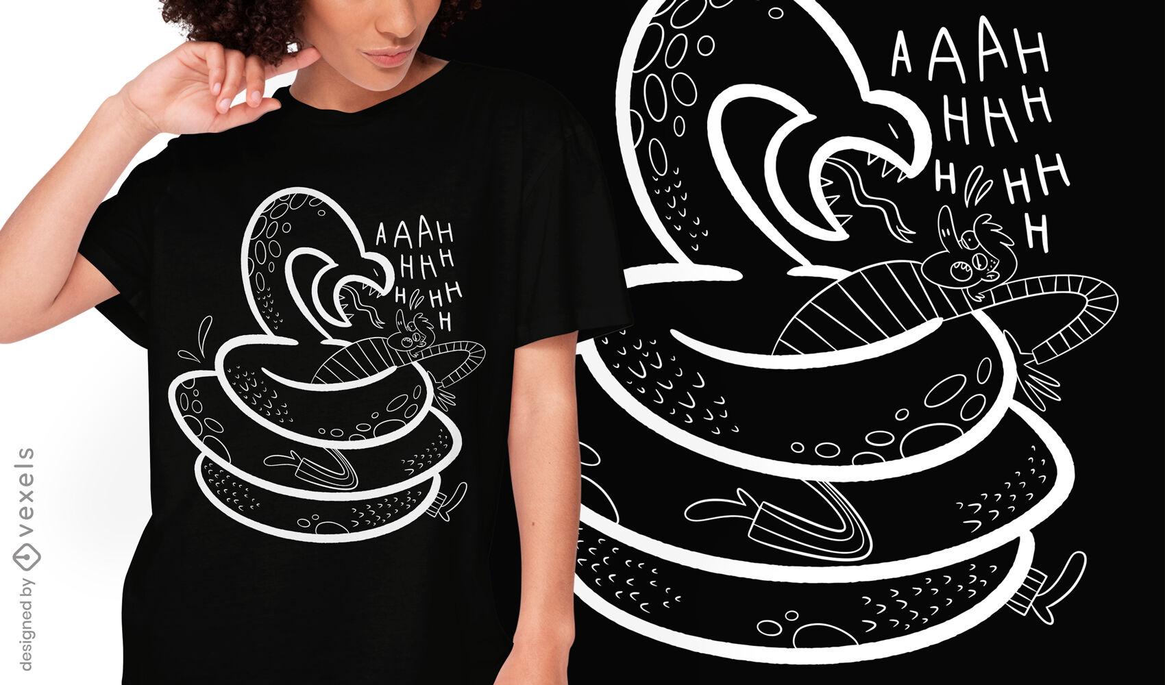 Diseño de camiseta de doodle de miedo a las serpientes