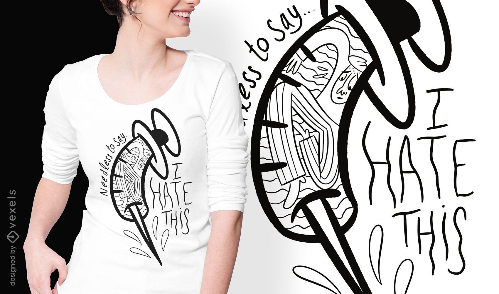 Dise?o de camiseta de doodle de miedo a las agujas