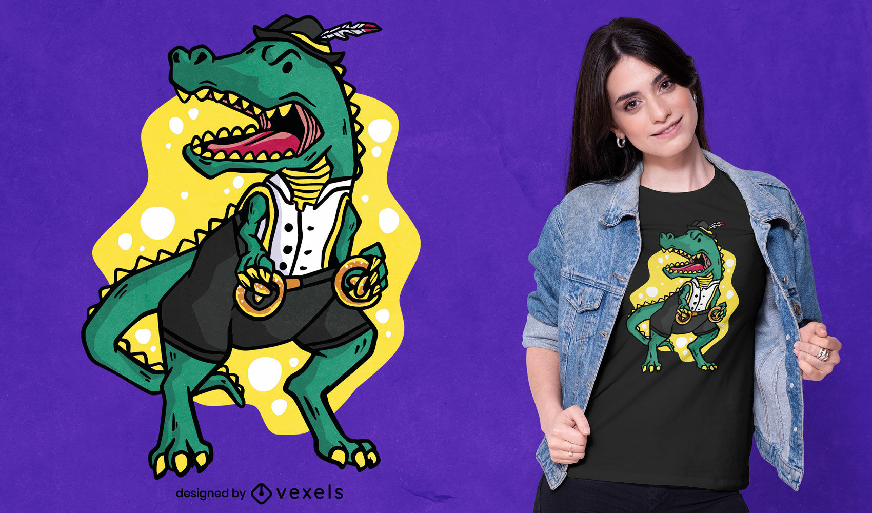 Diseño de camiseta de oktoberfest de dinosaurio t-rex