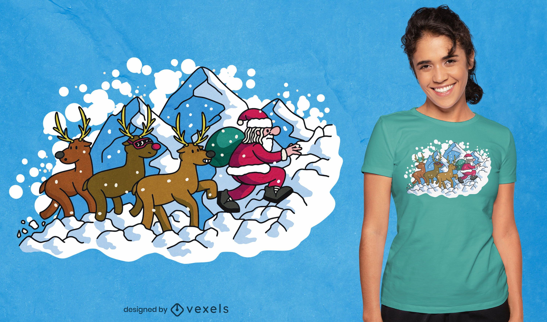 Santa claus climbing mountain t-shirt design