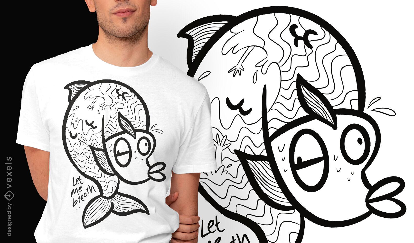 Ahogamiento en diseño de camiseta de pez.