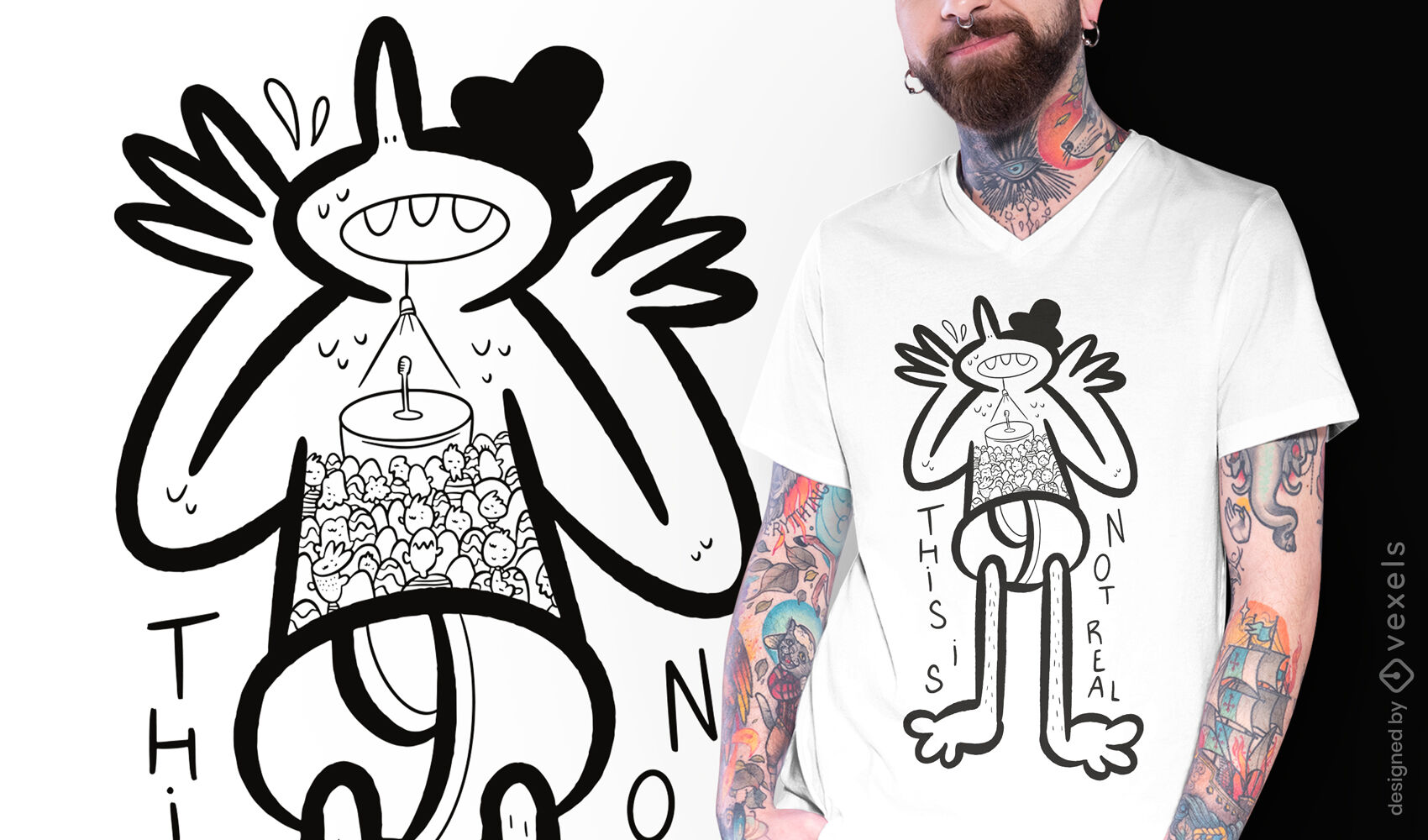 Diseño de camiseta de doodle de pánico escénico