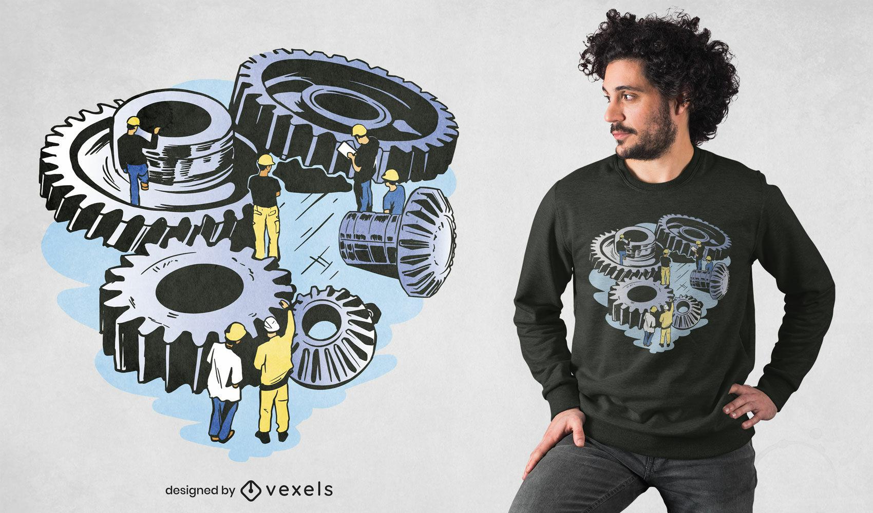 Diseño de camiseta de trabajadores de ingeniero mecánico.