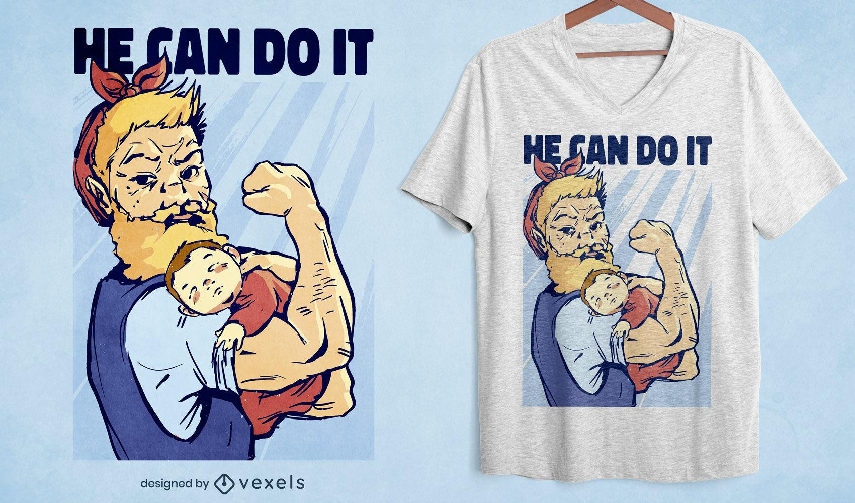 Starker Mann mit Baby-T-Shirt-Design