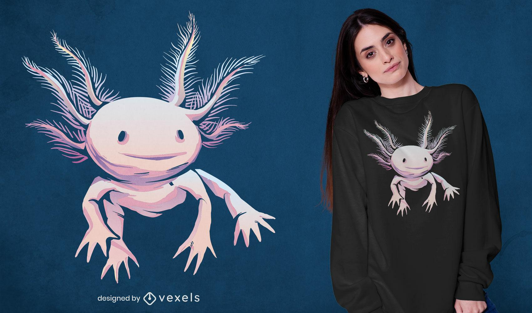 Dise?o de camiseta de animal realista axolotl.