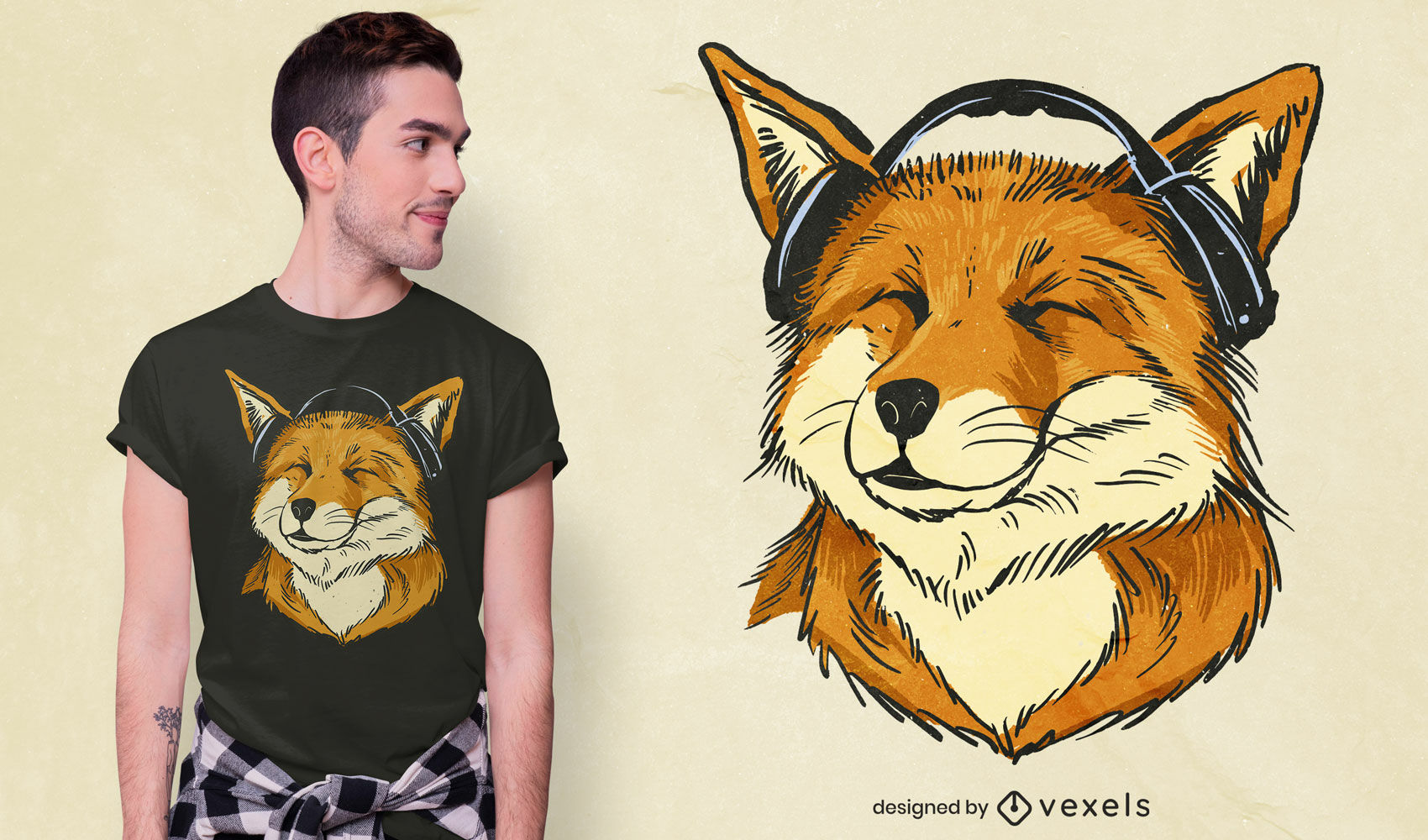 Diseño de camiseta de zorro feliz con auriculares.