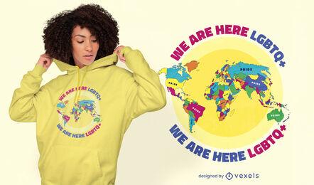Diseño de camiseta lgbt del mapa mundial del orgullo.