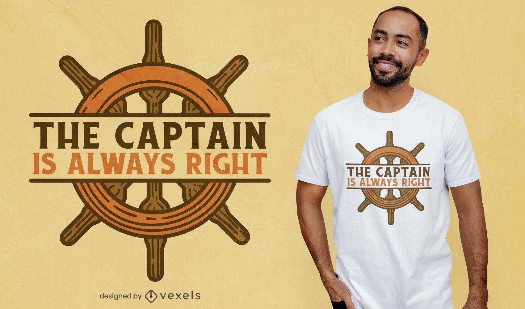Diseño de camiseta de cita de rueda de capitán barco