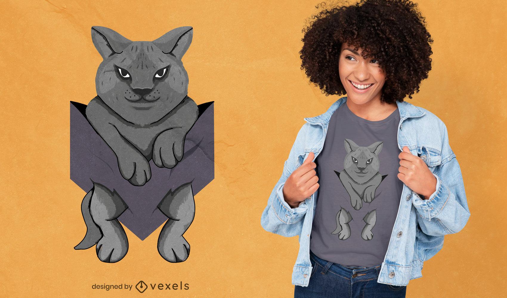 Animal gato negro en diseño de camiseta de bolsillo.