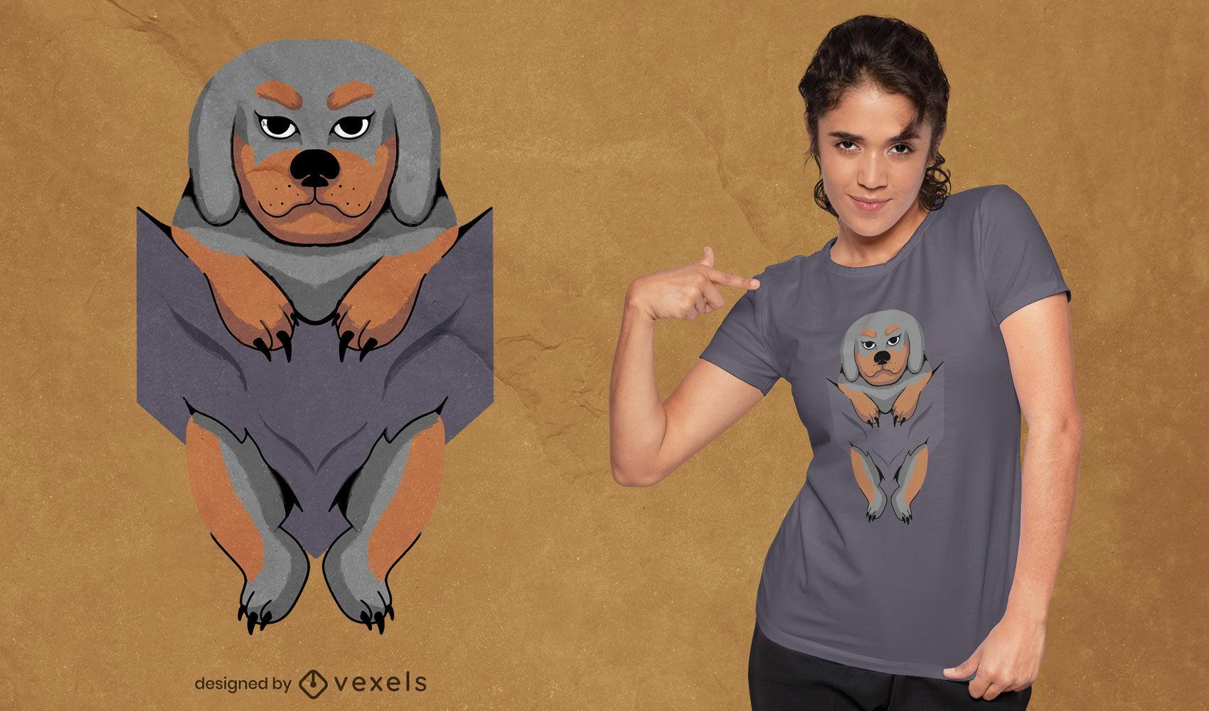Animal de cachorro en diseño de camiseta de bolsillo.