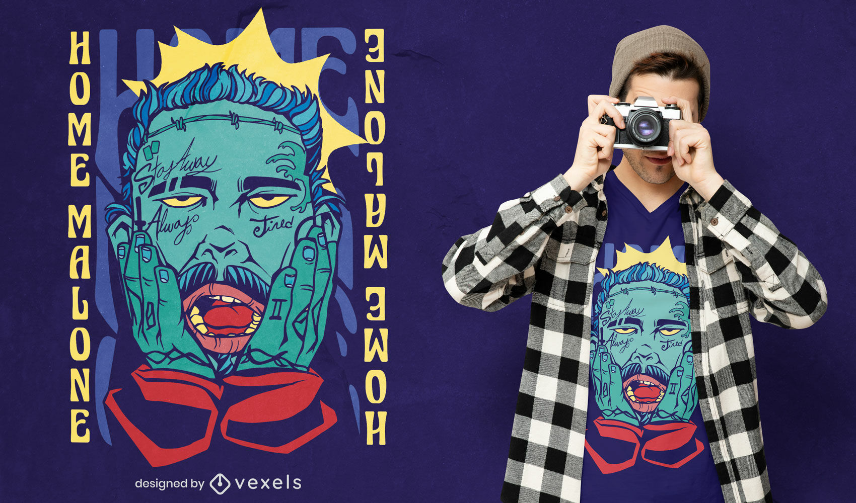 Diseño de camiseta de parodia divertida de malone