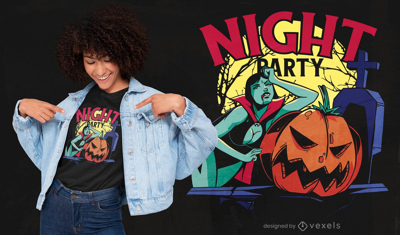 Bruja de Halloween en diseño de camiseta de cementerio