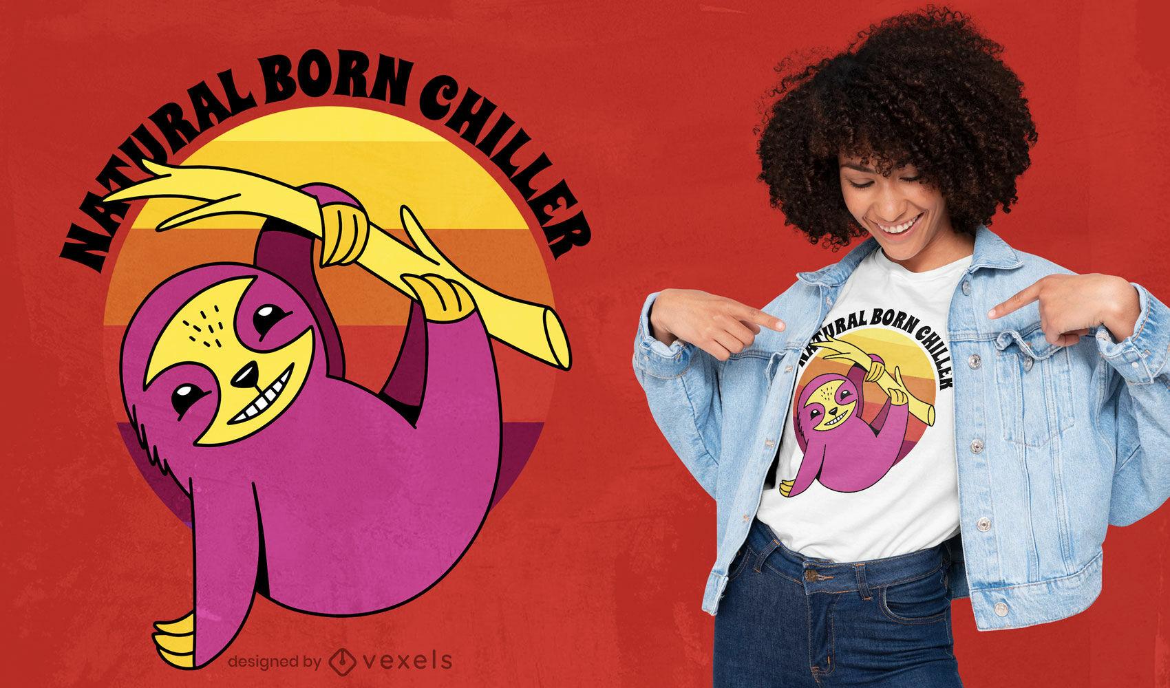 Desenho de t-shirt de desenho animado de animal preguiça feliz