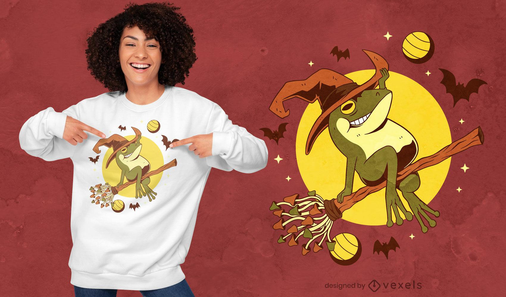 Design de camiseta voadora da bruxa sapo do Dia das Bruxas