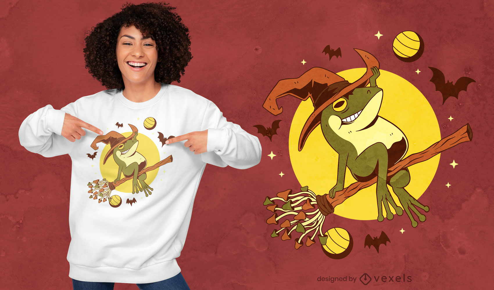 Diseño de camiseta voladora de bruja rana de Halloween