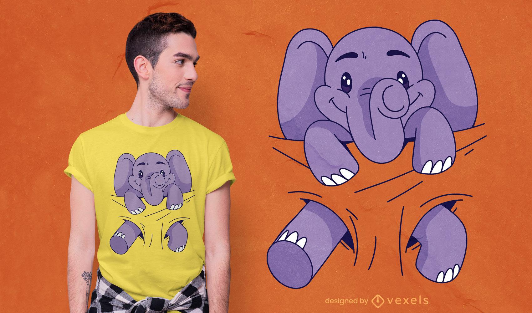 Carregando o design de uma camiseta bebê elefante