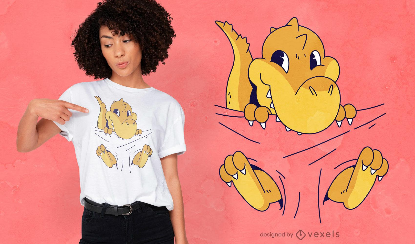 Diseño de camiseta con bebé T-rex.
