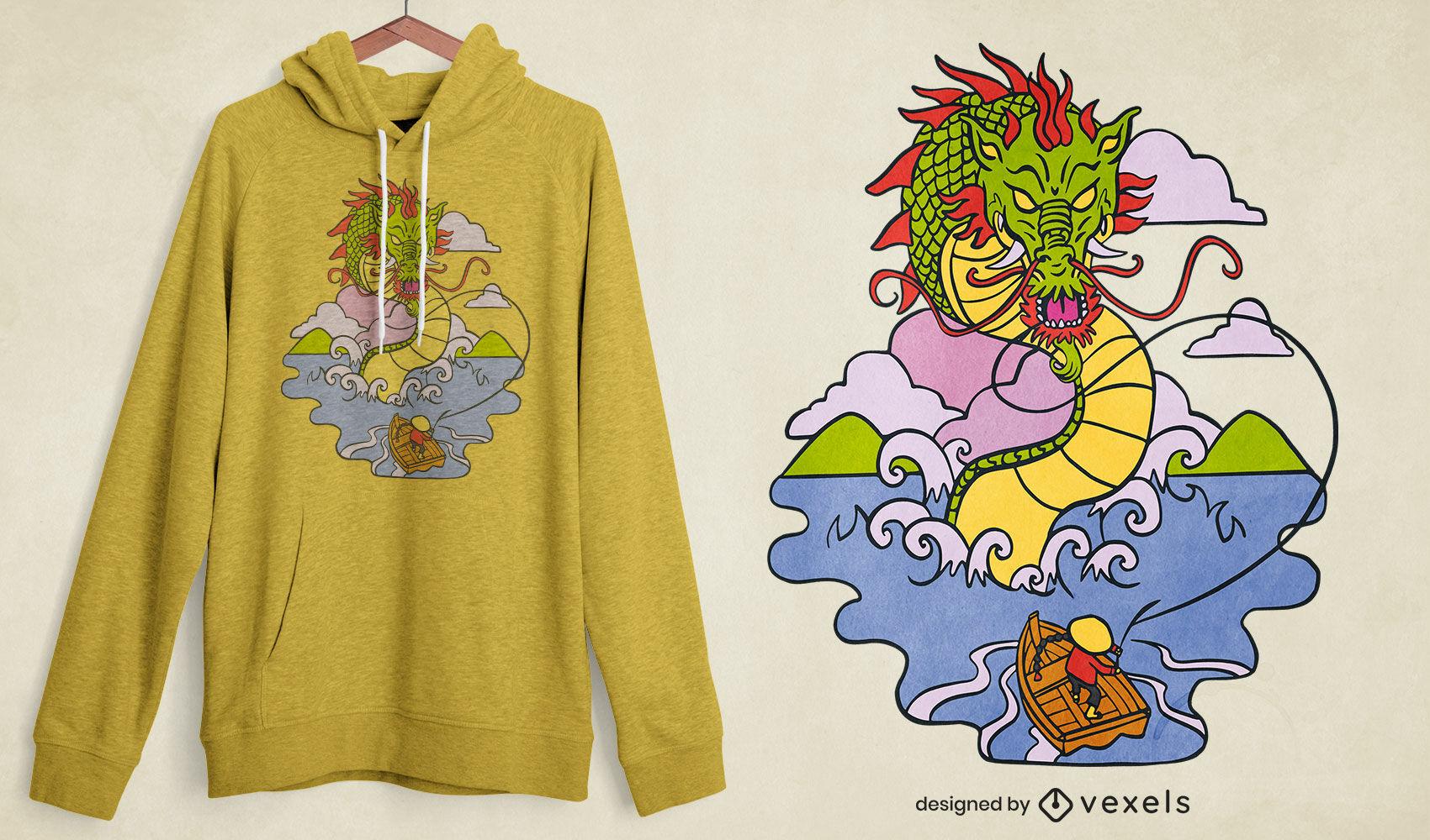 Diseño de camiseta de dragón de agua