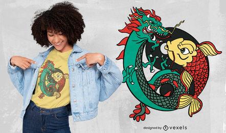 Dragon and fish ying yang t-shirt design