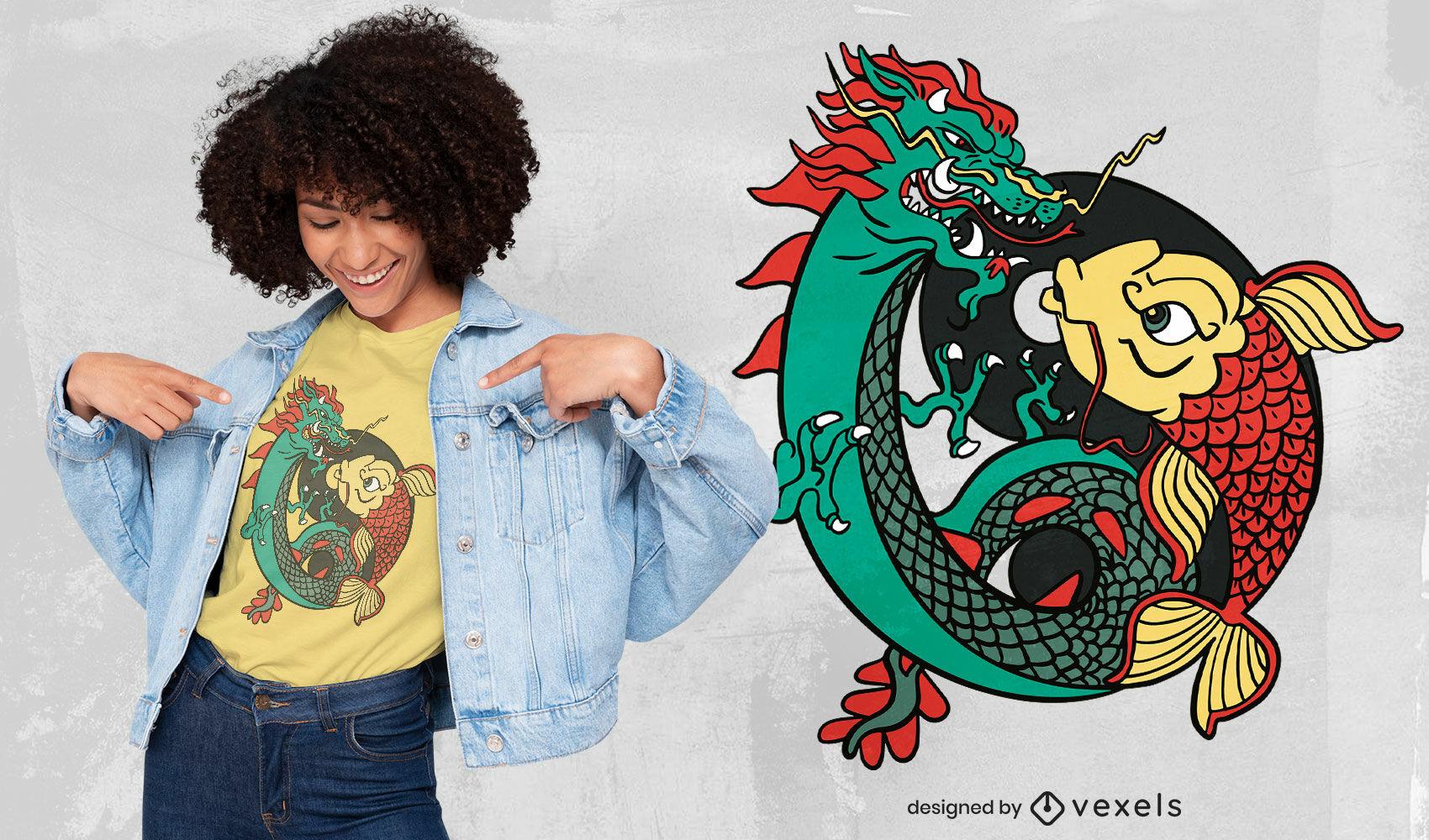 Diseño de camiseta de dragón y pez ying yang.